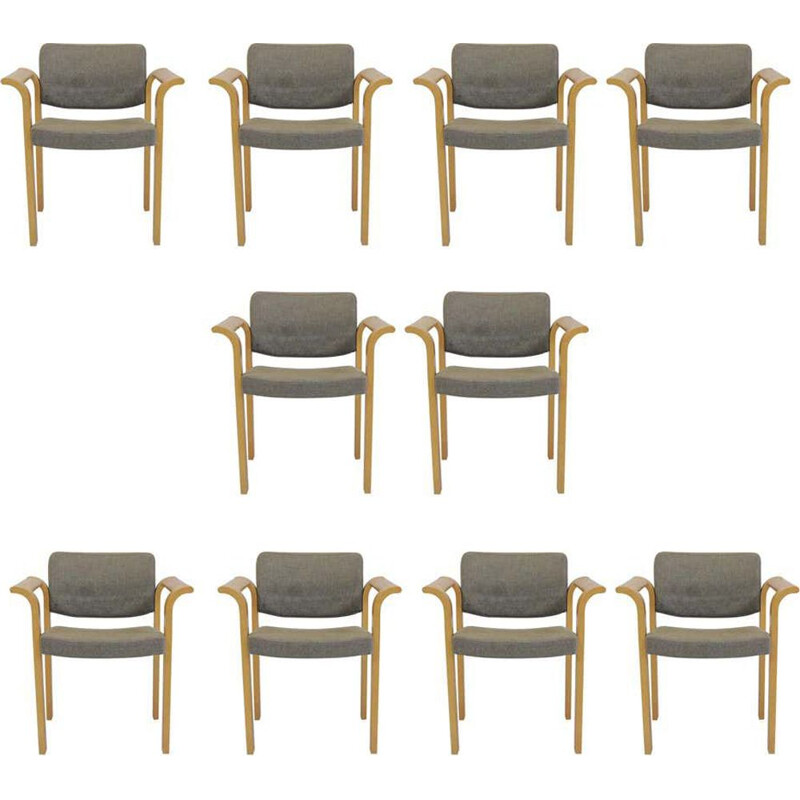 Set of 10 vintage Armchairs Rud Thygesen Johnny Sorensen 1970s