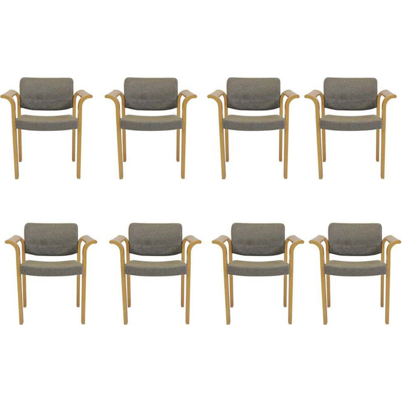 Set of 8 vintage Armchairs Rud Thygesen Johnny Sorensen 1970s
