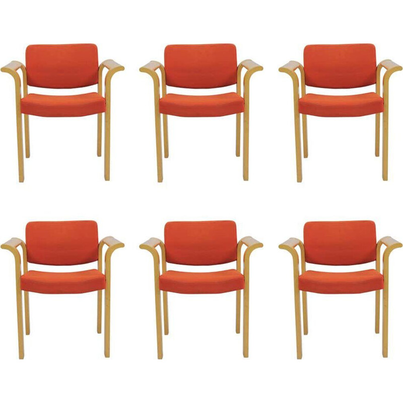 Set of Six vintage Armchairs Rud Thygesen and Johnny Sorensen 1970s