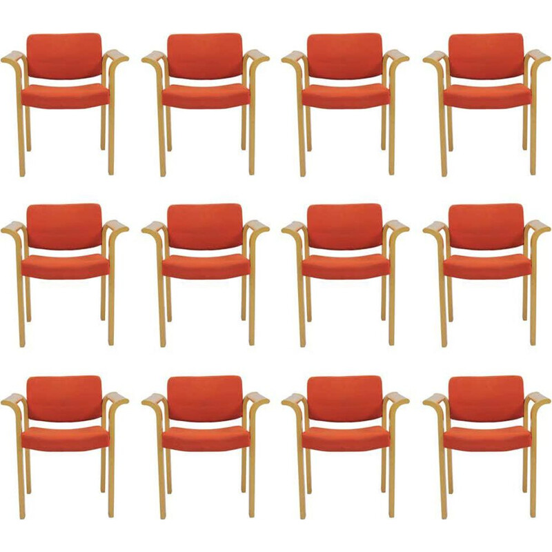 Set of 12 vintage Armchairs Rud Thygesen Johnny Sorensen 1970s