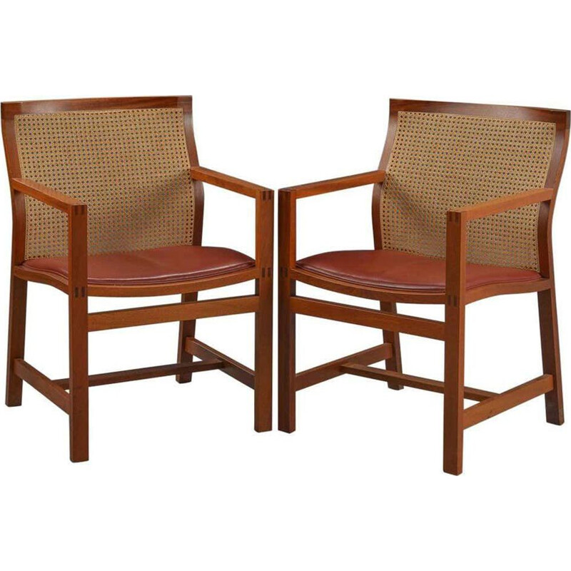 Pair of vintage Armchairs King Series Mahogany Rud Thygesen and Johnny Sorensen Mahogany  1980s