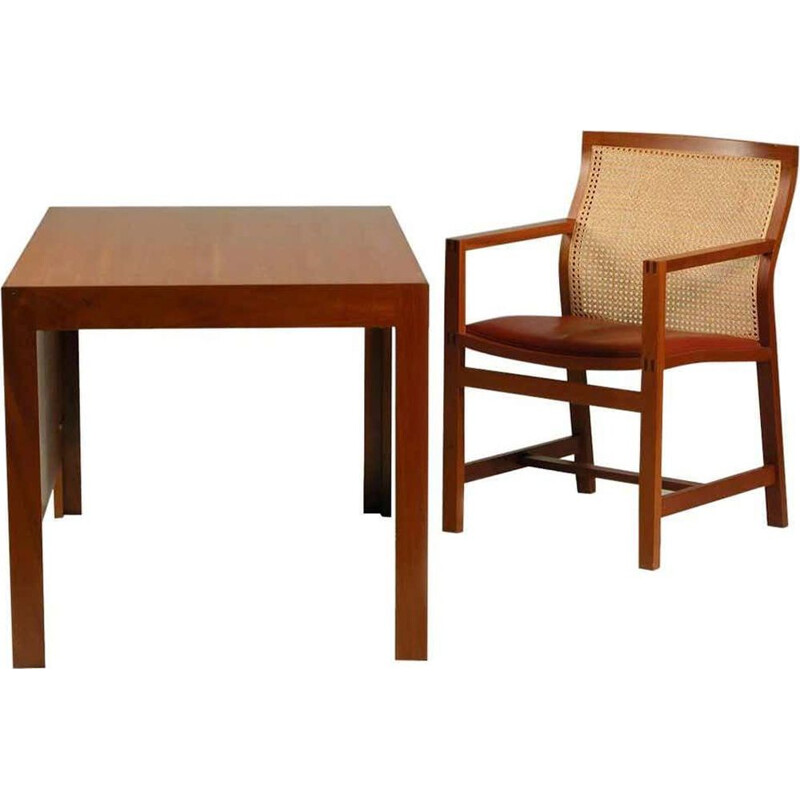 Vintage Desk and Chair Mahogany and Red Leather Rud Thygesen and Johnny Sørensen 1980s