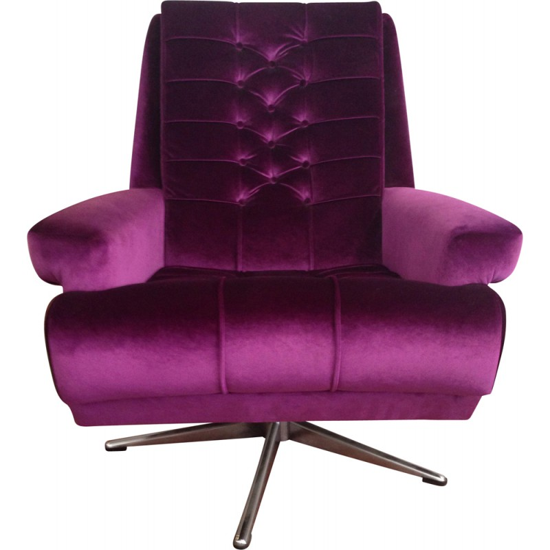 Purple Armchair In Velvet And Steel   1970s