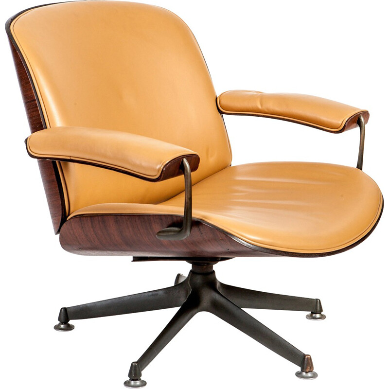Italian desk lounge chair in rosewood and leather, Ico PARISI - 1950s