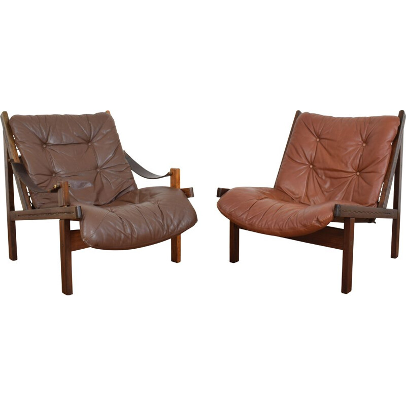Pair of Mid-Century Norwegian Lounge Chairs by Torbjørn Afdal for Bruksbo, 1960s