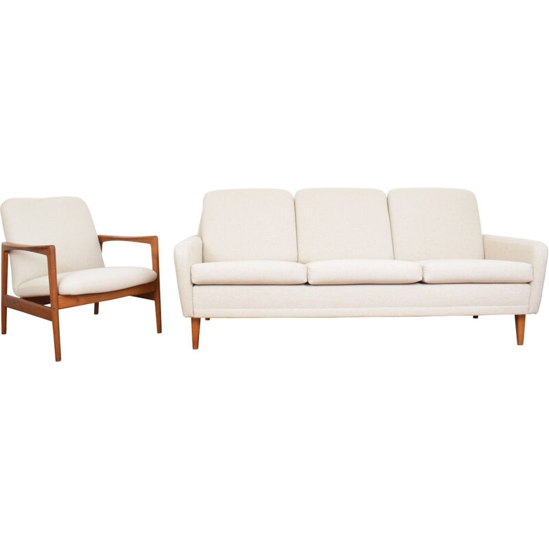 Mid-Century Sofa and Lounge Chair by Folke Ohlsson for DUX, Swedish 1950s