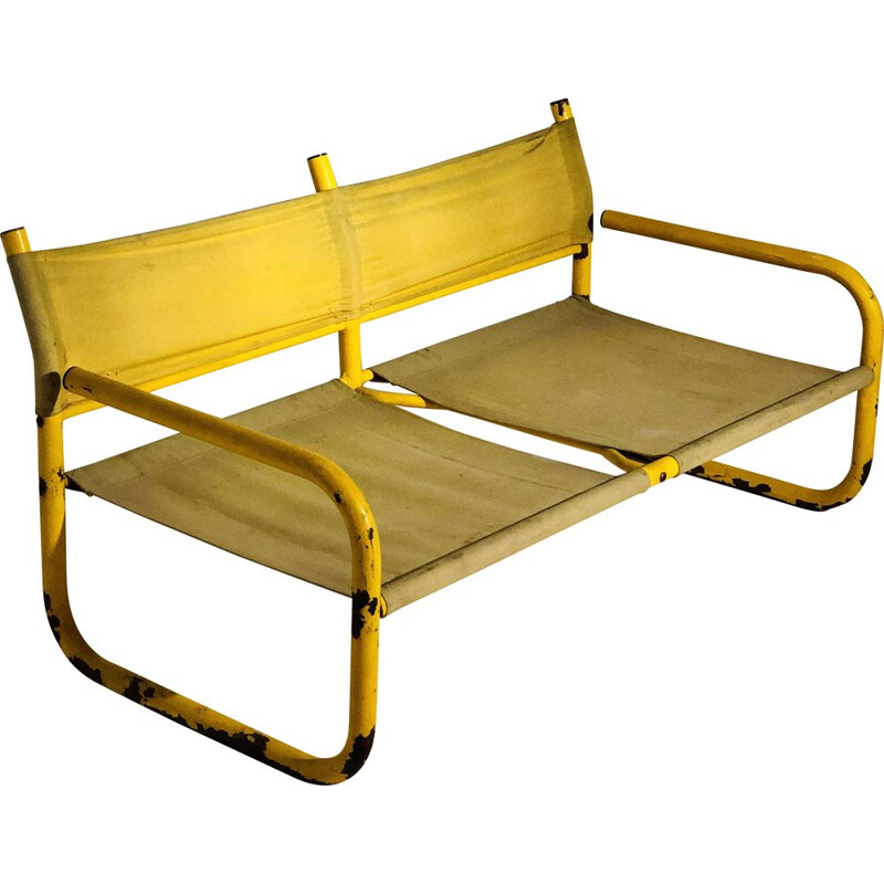 Vintage bench 2 places yellow