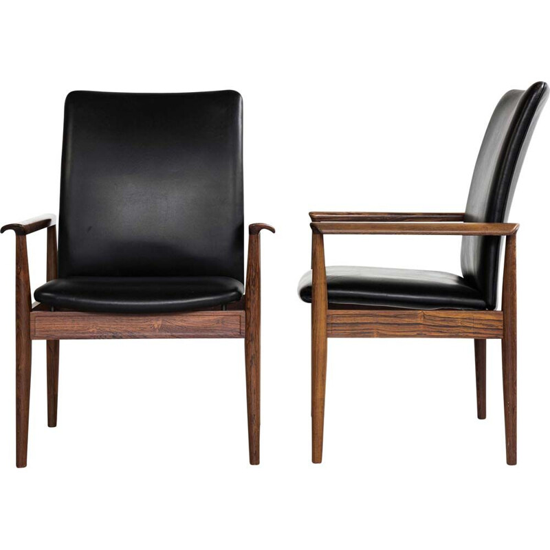 Pair of vintage high back chairs in rosewood and black leather by Finn Juhl for France & Søn 1960s
