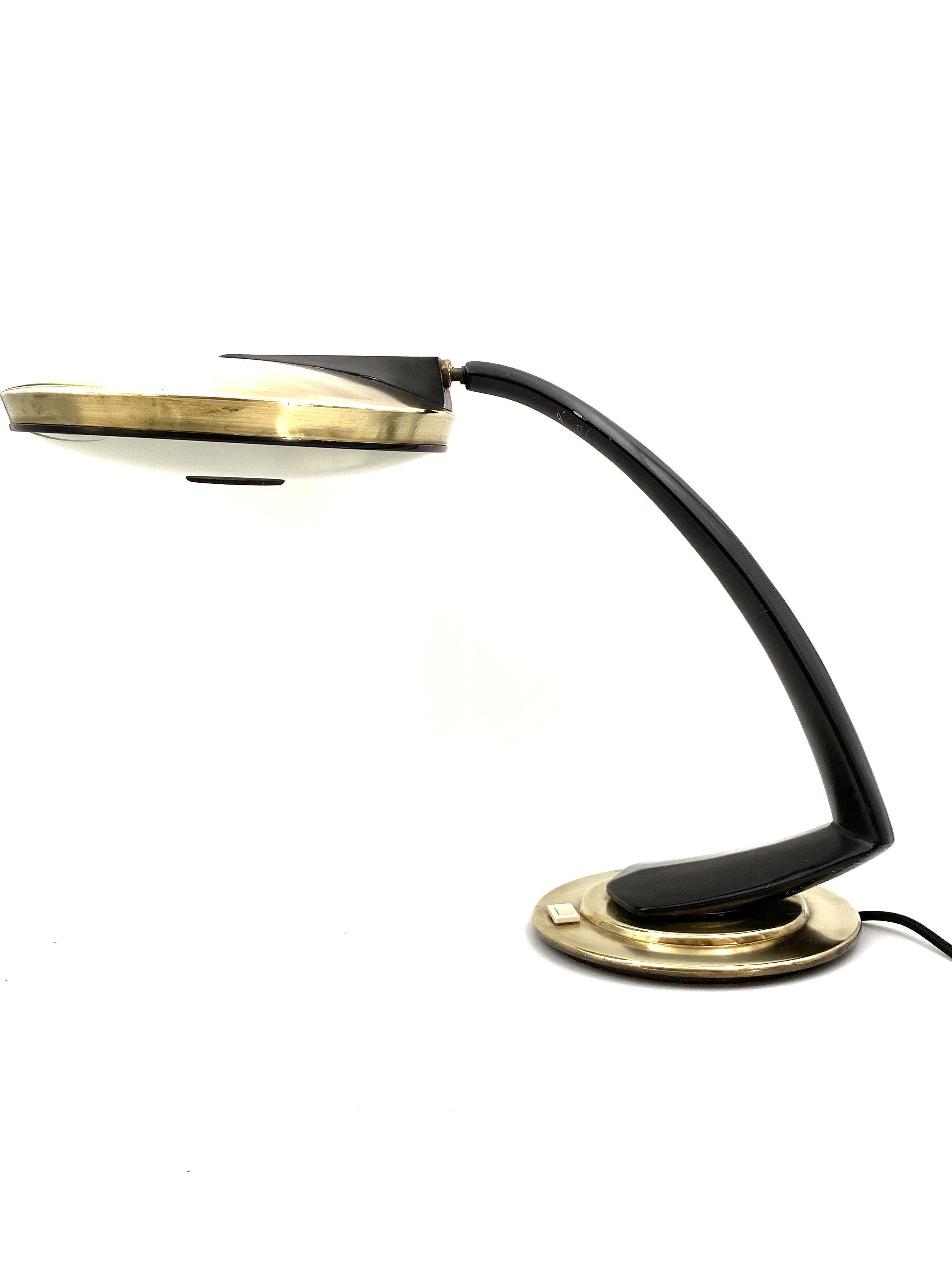 Image of: Vintage Boomerang Gold And Black Desk Lamp Fase Madrid Spain 1960 Design Market