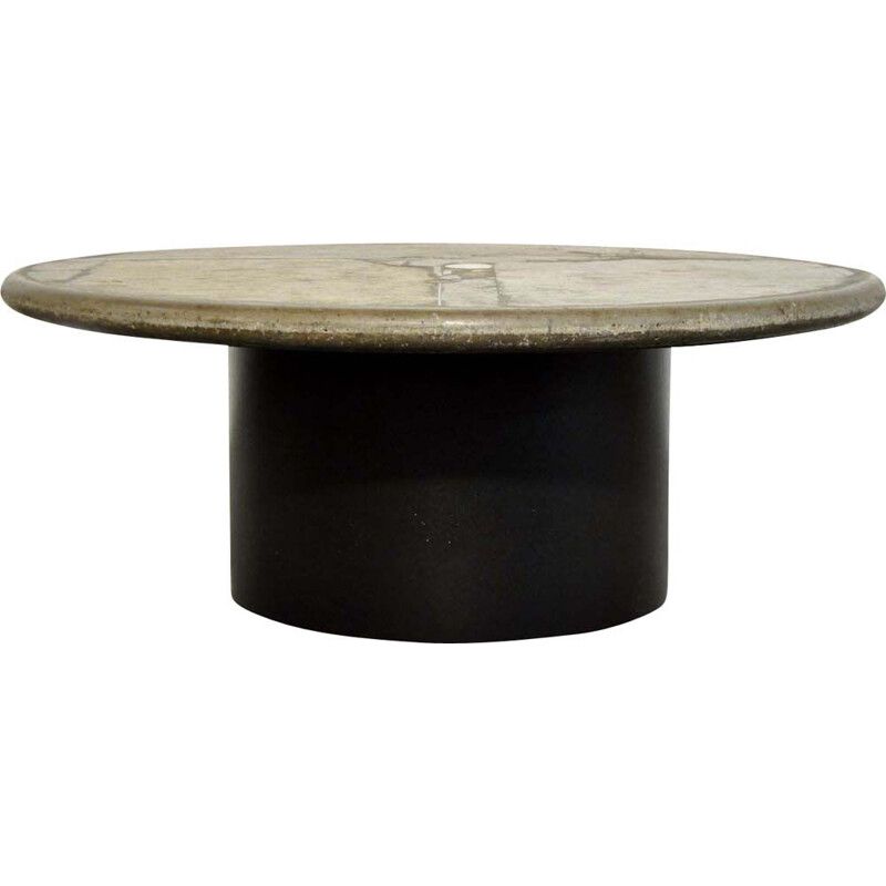 Vintage Brutalist round natural stone coffee table by sculptor Paul Kingma, Netherlands 1991