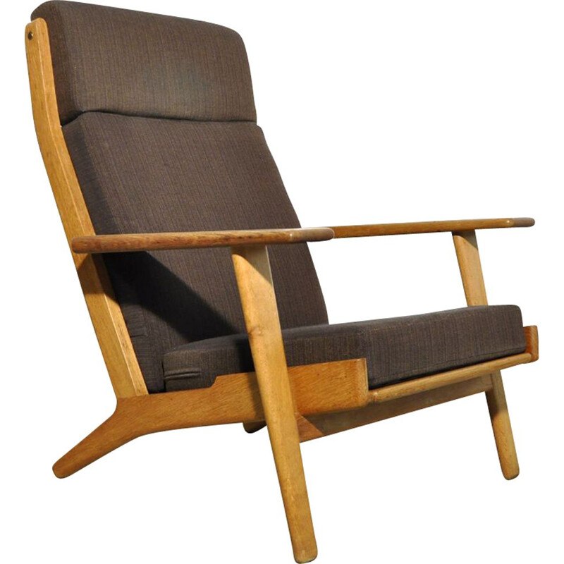 Vintage Highback oak lounge chair GE 290 by Hans J. Wegner for Getama, Denmark 1950s