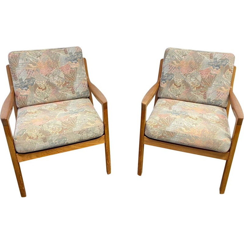 Pair of vintage  Armchair Senator Teak by Ole Wanscher for Cado, Denmark, 1960s