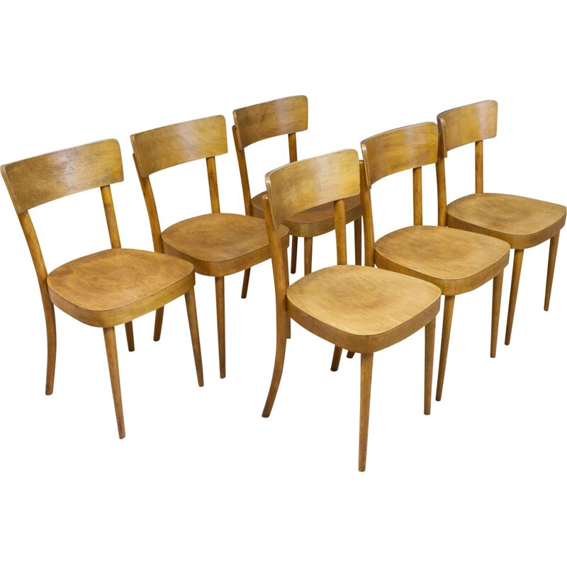 Set of 6 vintage plywood dining room chairs 1950s
