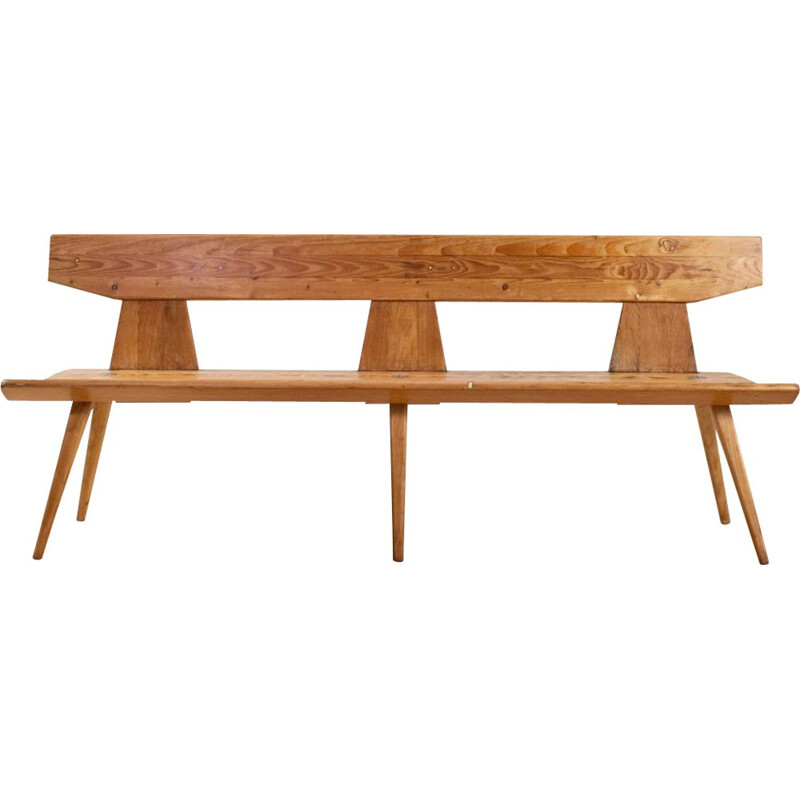 Vintage Jacob Kielland Brandt Bench in Pine for Christiansen, Handcrafted 1960s