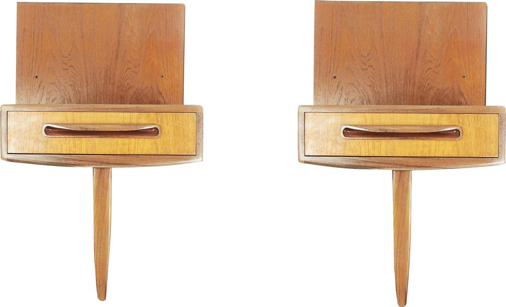 mid century pair of g plan fresco teak floating bedside cabinets1960s