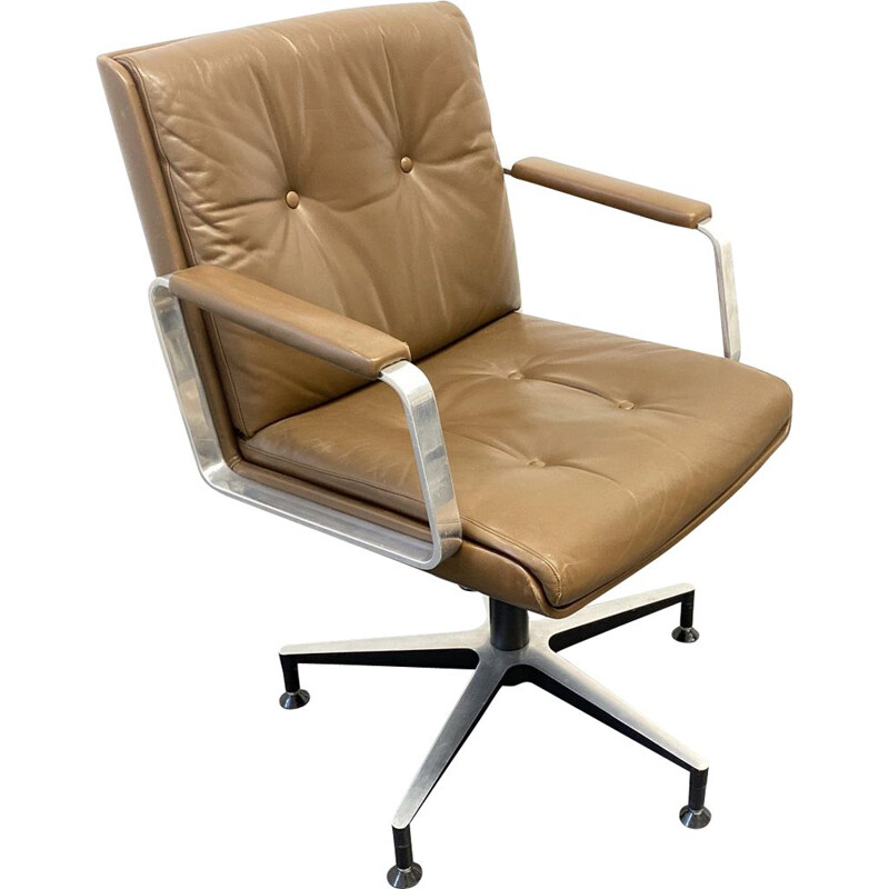 Vintage Office or Conference Chair Swivel Chair brown Leather Wilde & Spieth, Germany 1960s