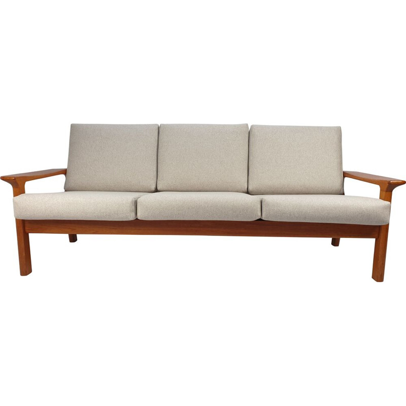 Vintage Teak Three-Seat Sofa by Juul Kristensen for Glostrup 1960s