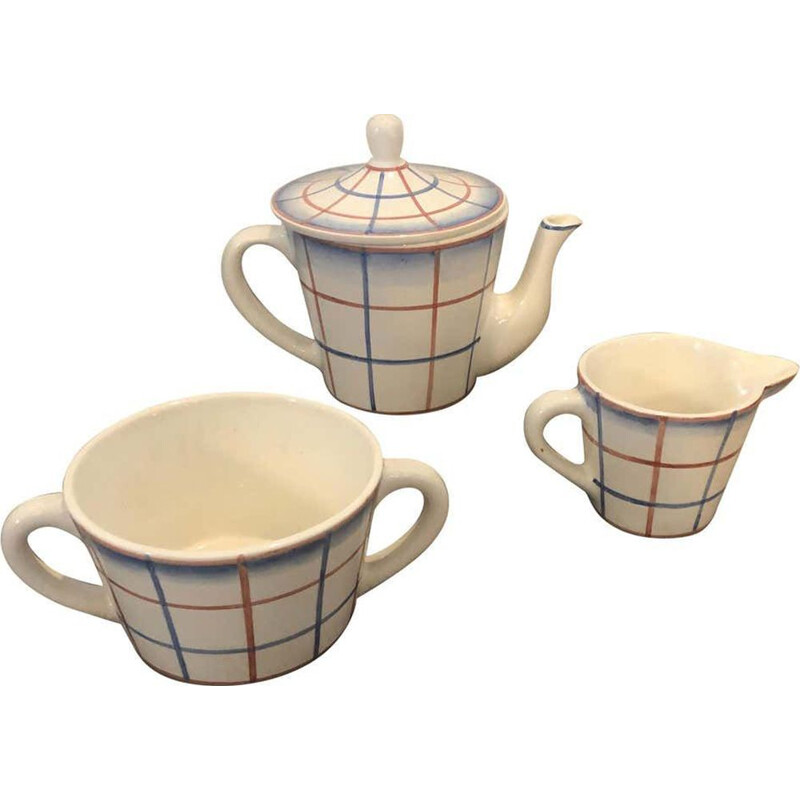 Vintage Ceramic Tea Set Designed by Gio Ponti for Richard Ginori, Art Deco 1930