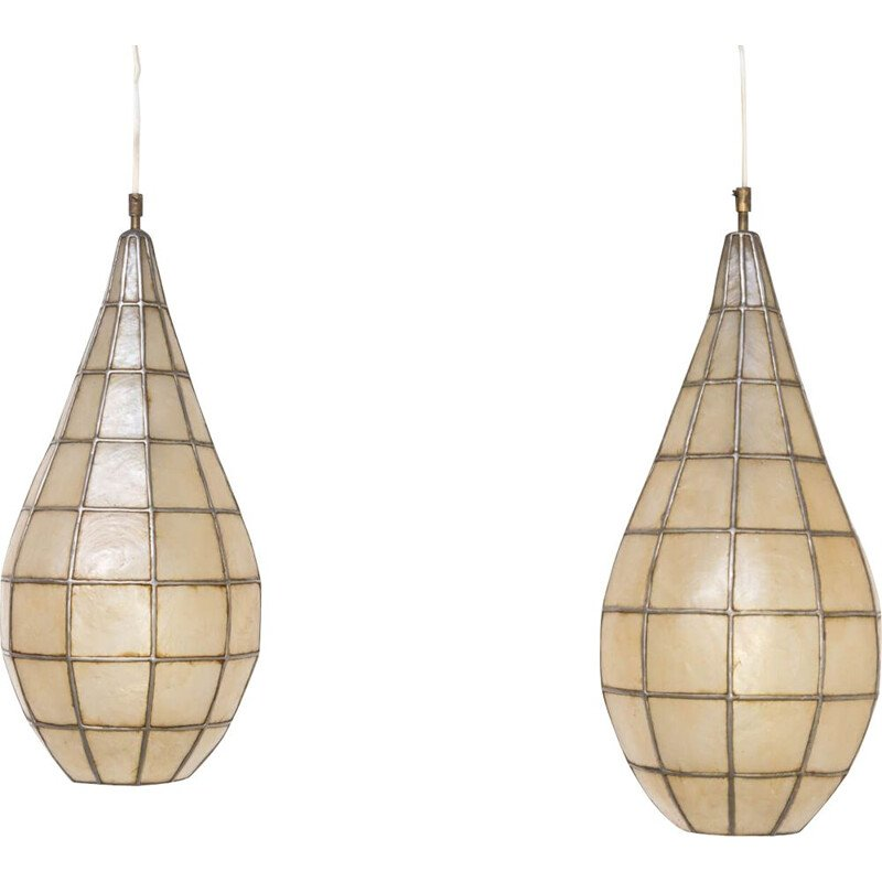 Pair of Vintage hanging lamp Metal and parchment 1970s