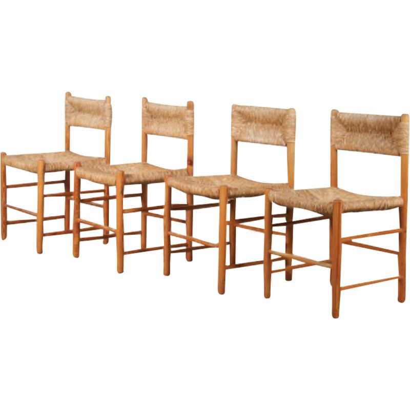 """Set of 4 Vintage """"Dordogne"""" dining chairs by Robert Sentou for Charlotte Perriand, France 1950"""