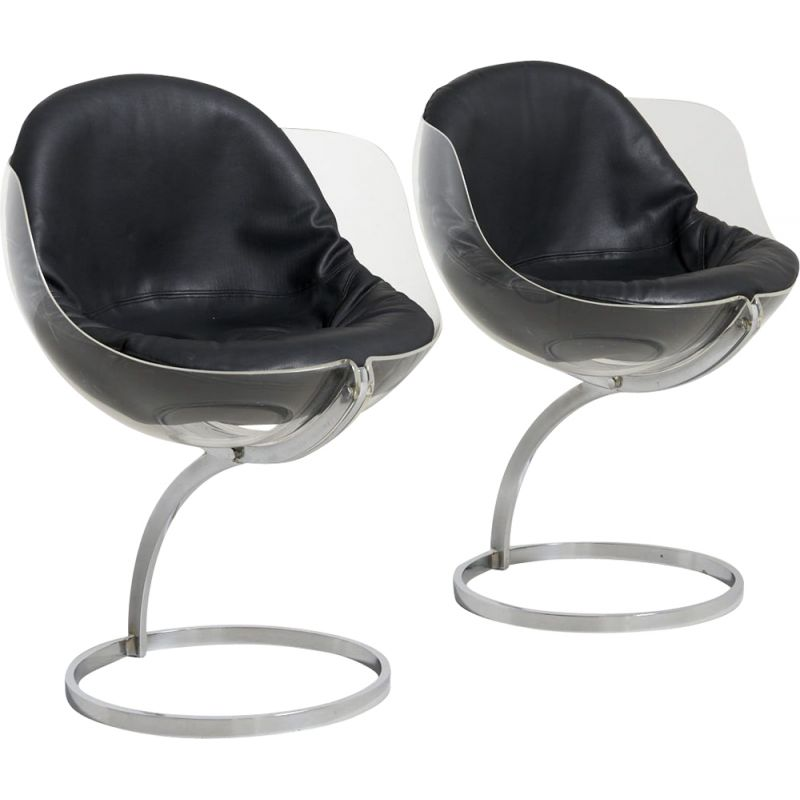 Pair of vintage 'Sphere' Dining Chairs by Boris Tabacoff for Modulaire France 1970s