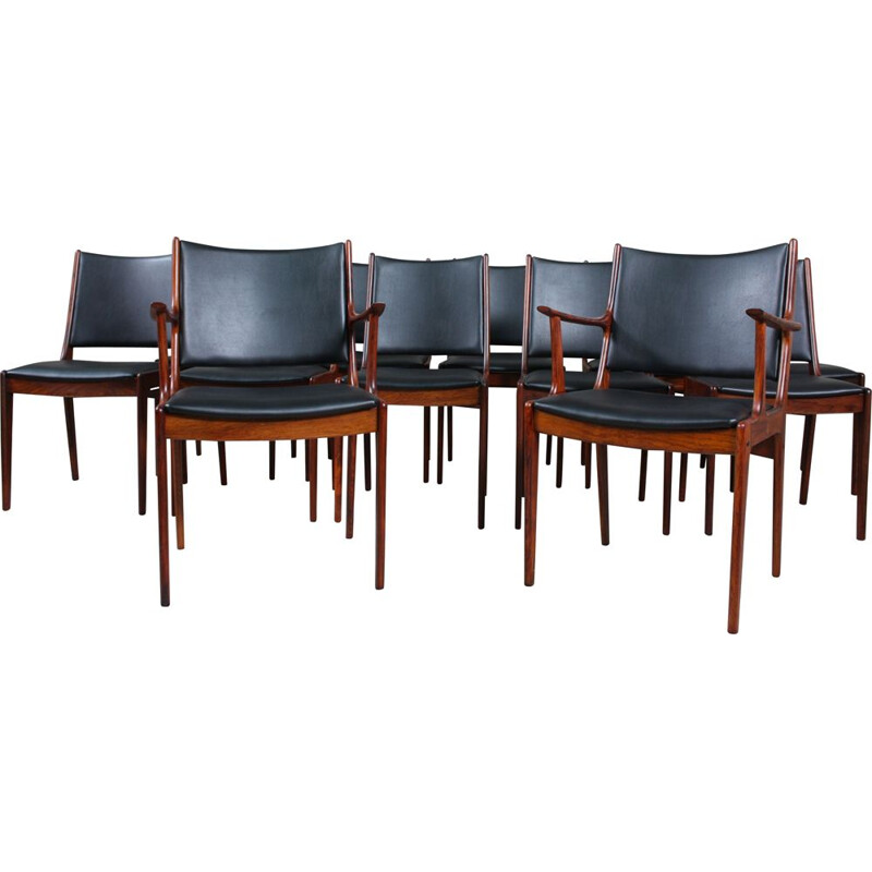 Set of 12 vintage Rosewood Dining Chairs by Johannes Andersen for Uldum Møbelfabrik, 1960s