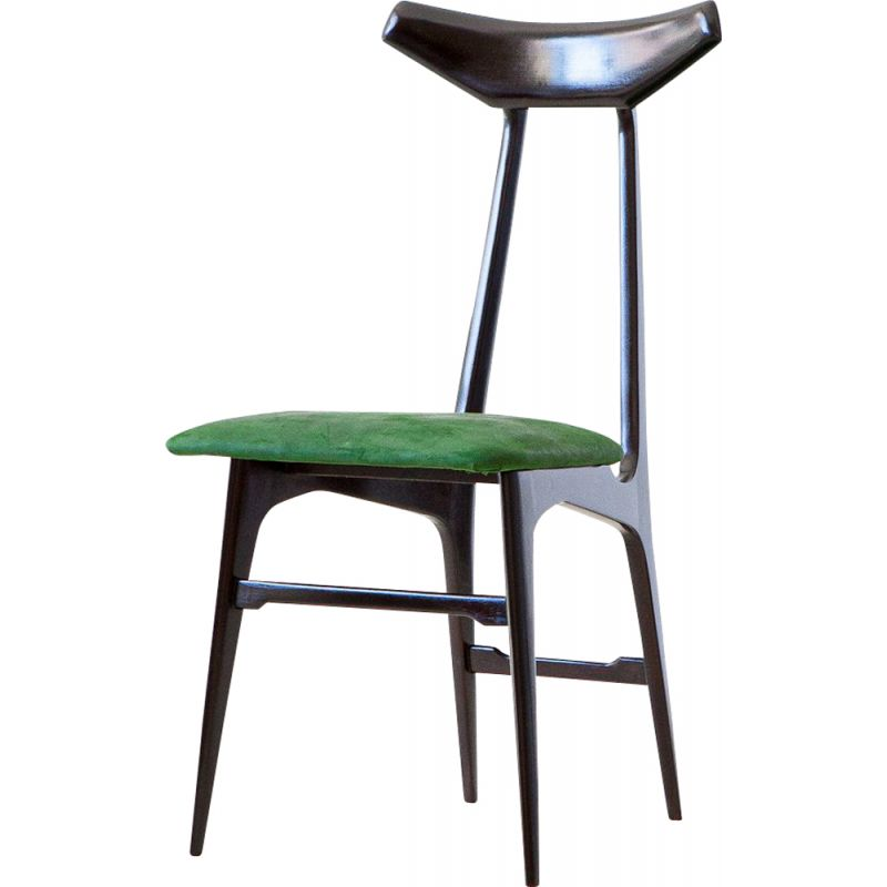 Set of  6 Vintage Dining Chairs,Green Suede Leather Italian  1950s