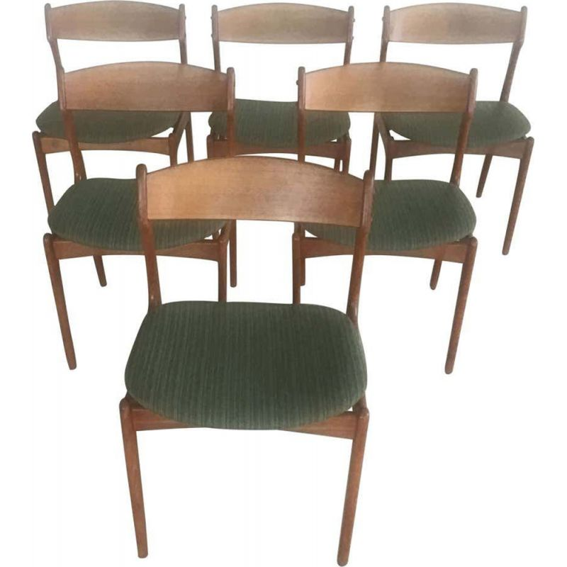 Set of 6 Dining Chairs in Teak, Inc. Reupholstery by Erik Buch Danish