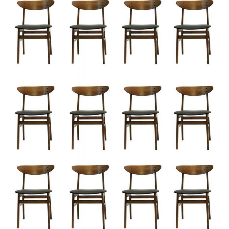 Set of  vintage12 dining chairs, model 100 1960s