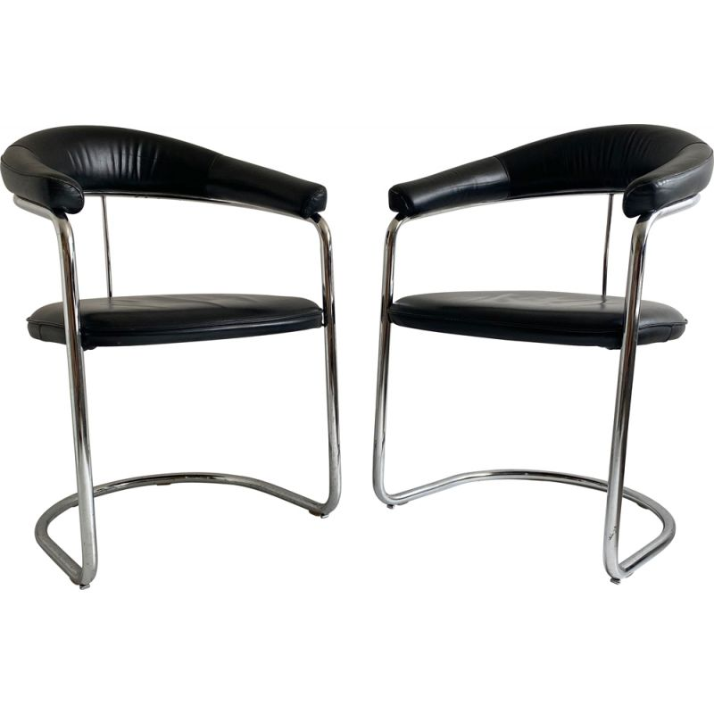 Pair of vintage Leather and Chrome Cantilever Chair Anton Lorenz  Bauhaus