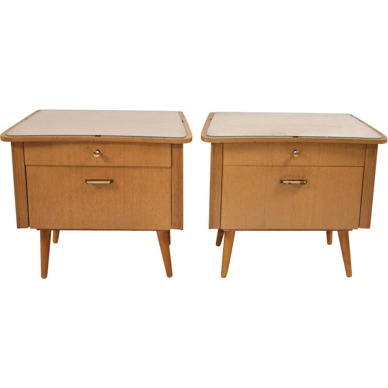 Pair of bedside tables with glass top German 1960s
