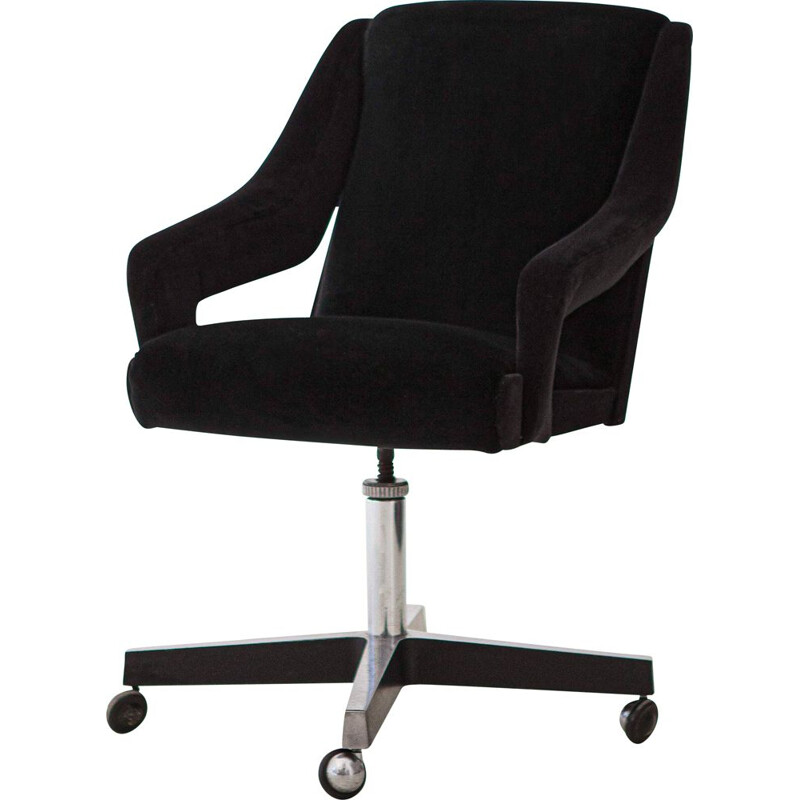 Vintage Black Velvet and Steel Swivel Desk Chair, Italian 1950s