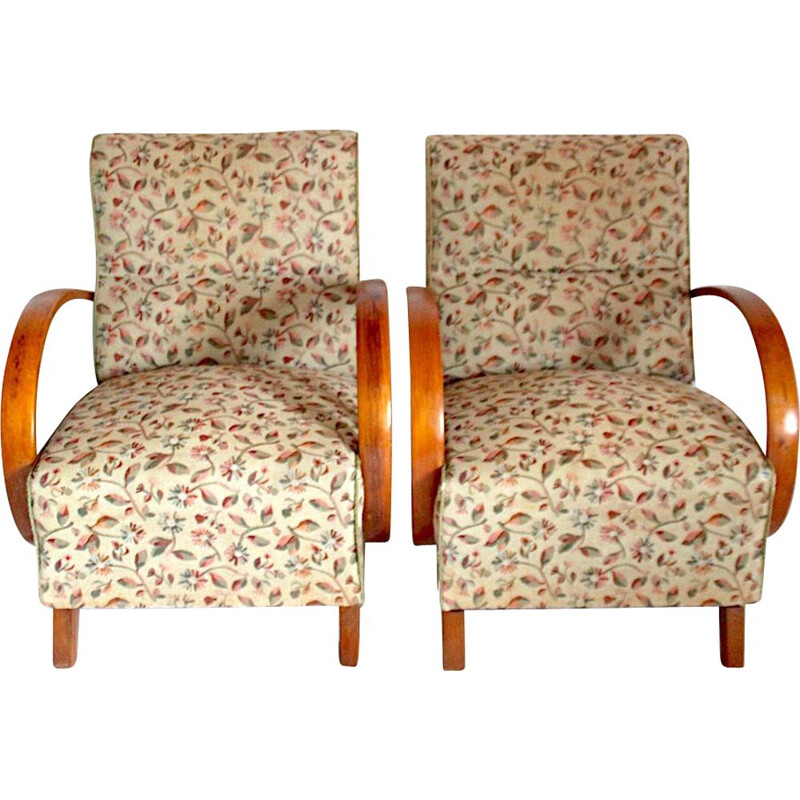 Set of 2 vintage armchairs designed by Jindřich Halabala, 1950s