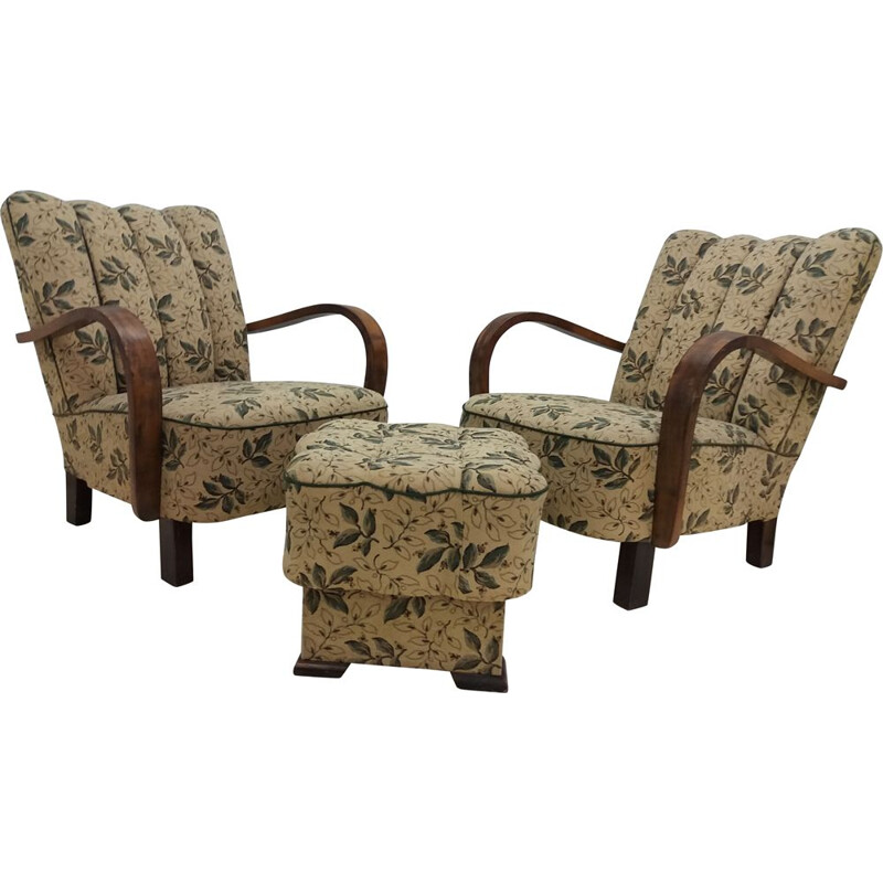 Pair of vintage armchairs with pouffe, art deco 1935