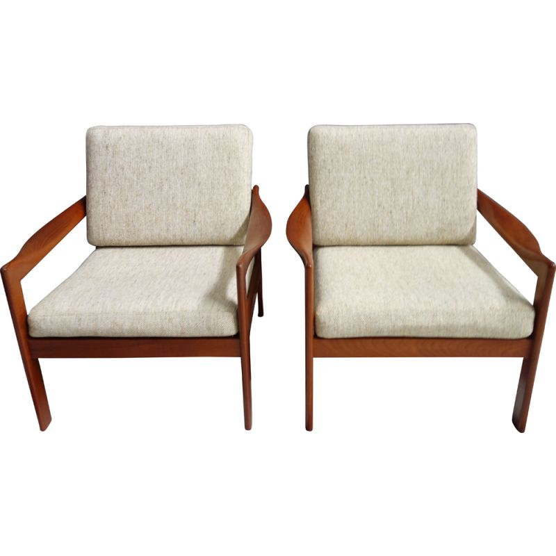 Pair of vintage armchairs for Niels Eilersen by Illum Wikkelso Denmark 1960