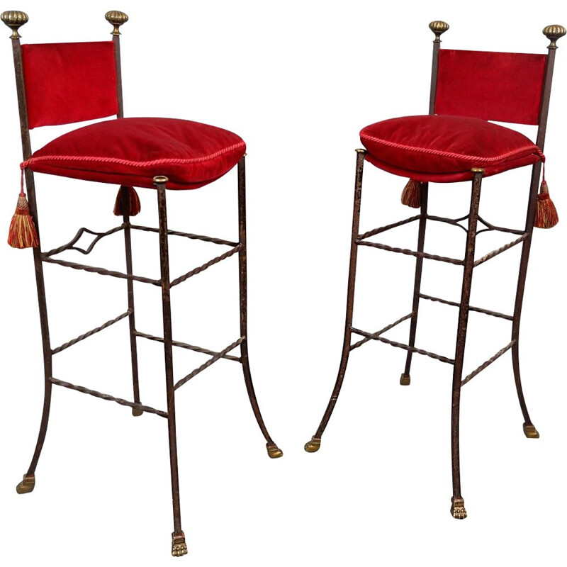 Pair of vintage wrought iron and red velvet bar stools