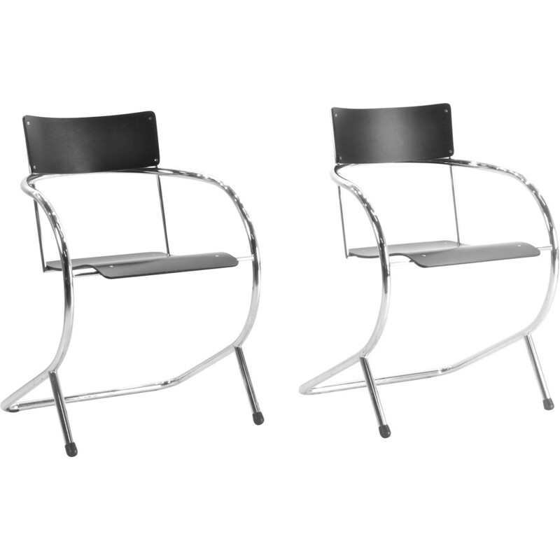 Pair of Vintage Gispen chair  PS 32 by Paul Schuitema Dutch