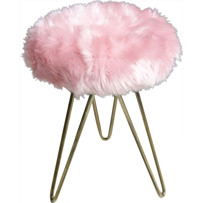 Vintage Pink Fluffy stool with brass hairpin legs 1960s