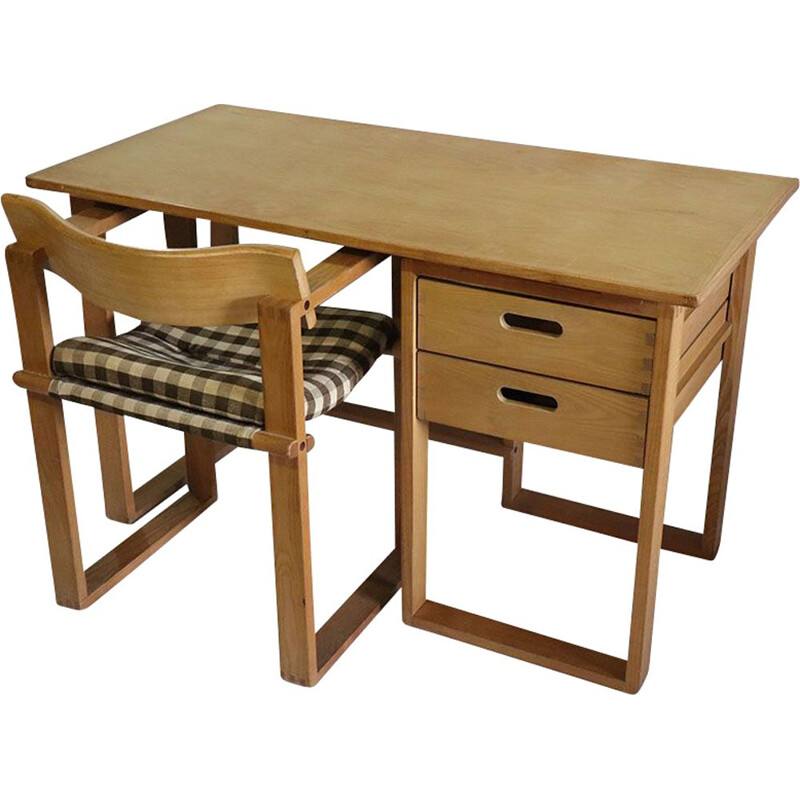 Vintage wooden desk and chair 1960