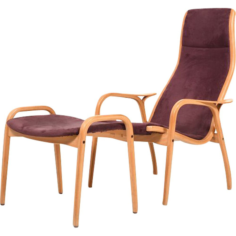 Vintage Lamino Chair and Stool by Yngve Ekström for Swedese 1970s