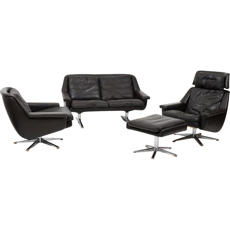 Vintage Danish leather sofa and armchair set by Werner Langenfeld for ESA 1960