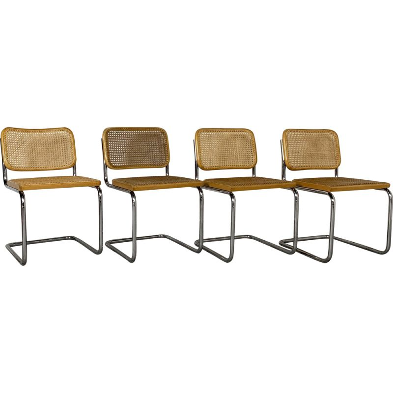 Set of 4 vintage B32 Cesca Chairs by Marcel Breuer for Gavina, 1970s