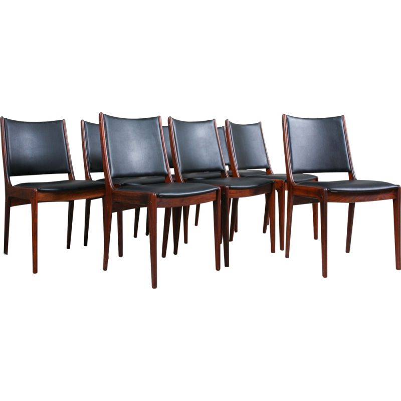 Set of 8 vintage Rosewood Dining Chairs by Johannes Andersen for Uldum Møbelfabrik, 1960s