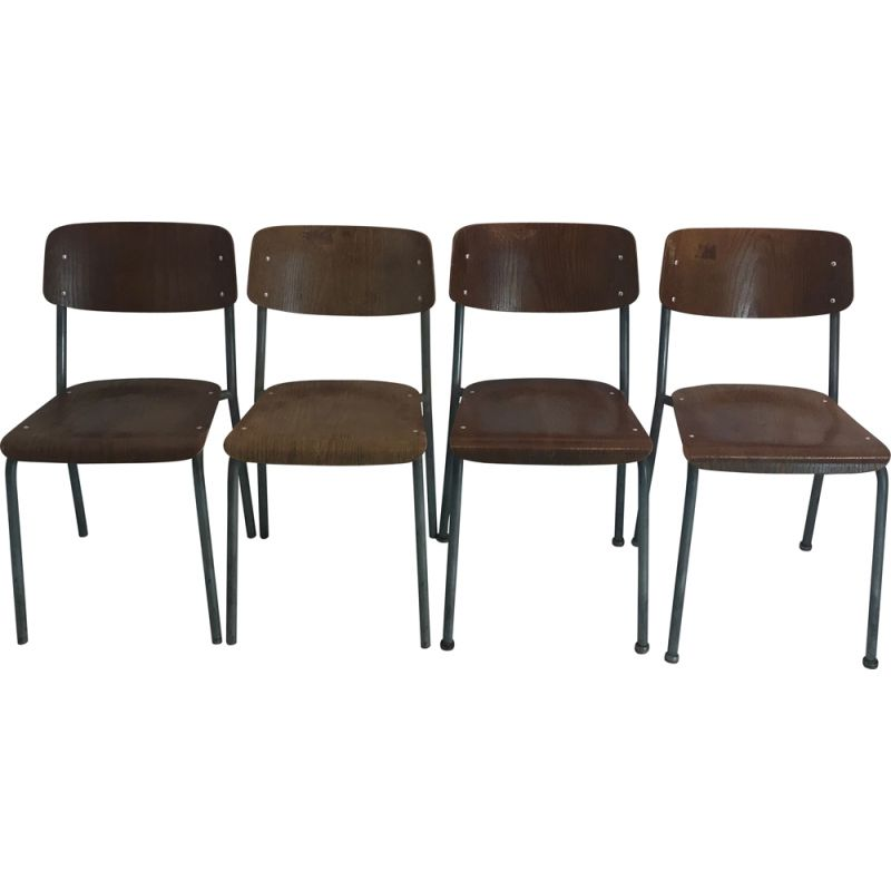 Set of 4 vintage chairs mod.1257 by by Gustav Hassenpflug for Embru 1934