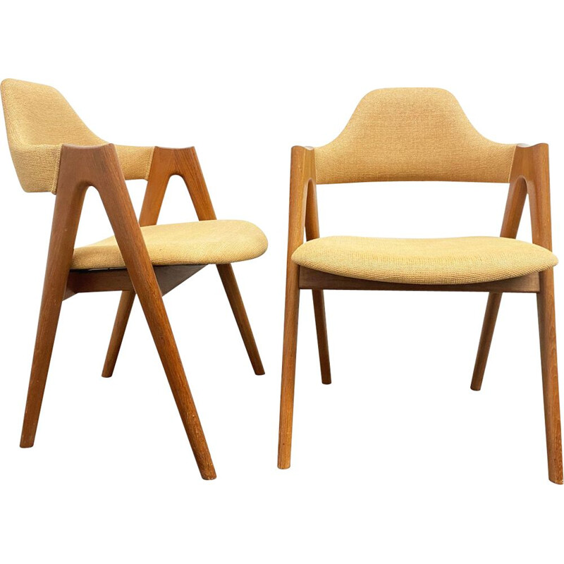 Pair of Mid Century Compass Teak Chairs by Kai Kristiansen for SVA Moebler, Denmark 1960s