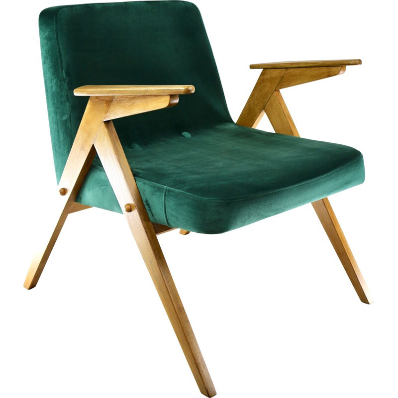 Vintage Green Bunny Velvet Armchair by Jozef Chierowski, 1970s