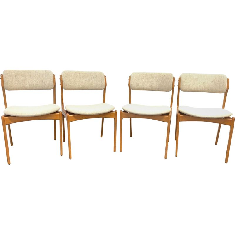 Set of 4 Mid Century Teak Chairs Domus Danica by Eric Buch for O. D. Moebler, Denmark, 1960s