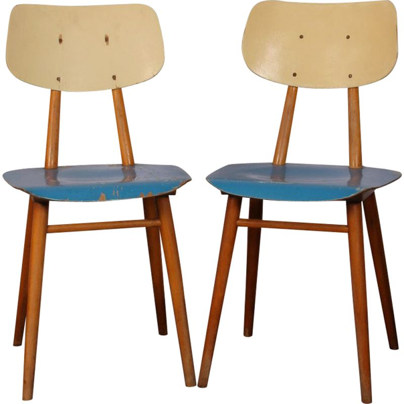 Pair of vintage wooden chairs, 1960