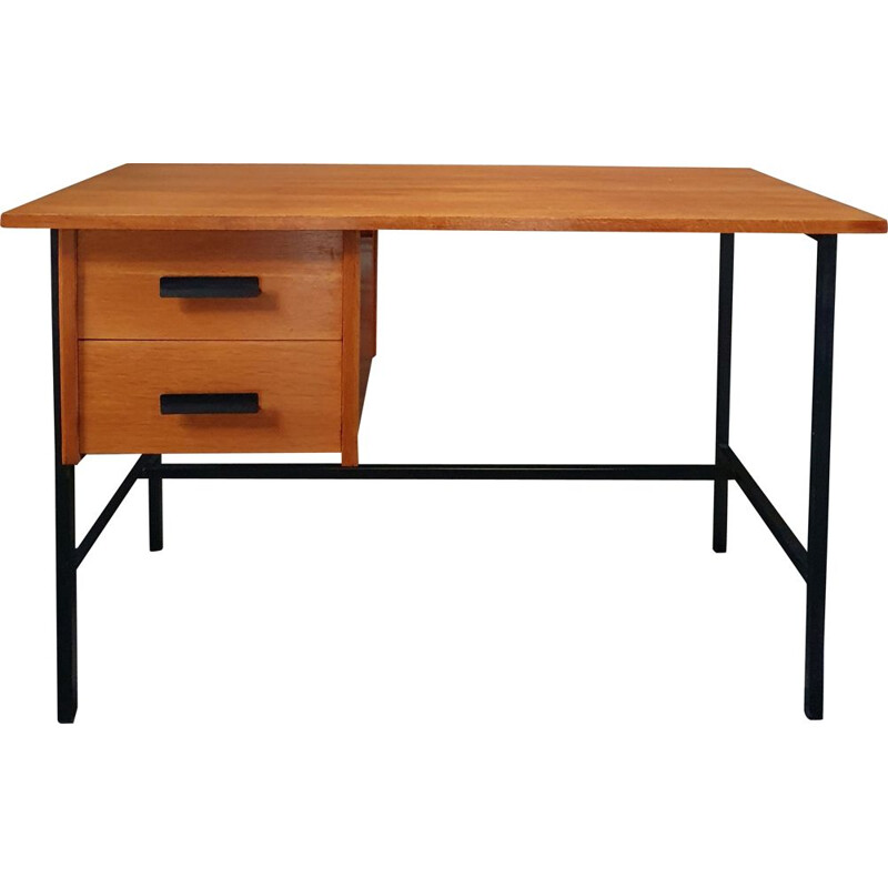 Vintage desk Clear Oak & Black Lacquered Metal 1960