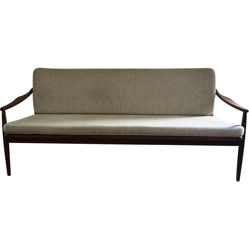 Vintage teak and cane sofa Hartmut Lohmeyer 1950s